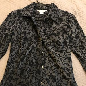 Black and silver floral print blouse
